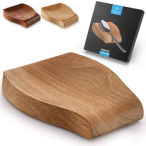 Zulay Acacia Wood Spoon Rest For Kitchen - Smooth Wooden Spoon Holder For Stovetop With Non Slip Silicone Feet - Perfect Holder For Spatulas, Spoons, Tongs & More