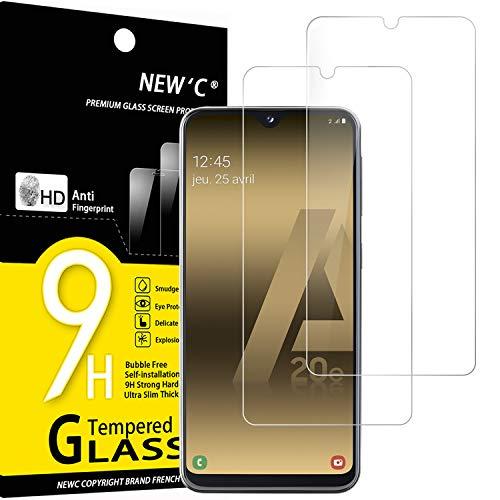 NEW'C 2 Unidades, Protector de Pantalla para Samsung Galaxy A20e, Antiarañazos, Antihuellas, Sin Burbujas, Dureza 9H, 0.33 mm Ultra Transparente, Vidrio Templado Ultra Resistente