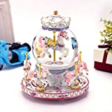 Autker Rotate Music Box, Carousel Crystal Ball Colorful LED Lights Snowflake Glass Ball with Castle in The Sky Tune Best Birthday/Christmas for Kids, Girls, Women (White)