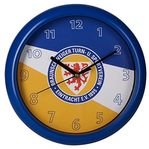 Eintracht Braunschweig Wanduhr - Streifen - Uhr, Wall Clock Ø 25 cm BTSV - Plus Lesezeichen Wir lieben Fußball
