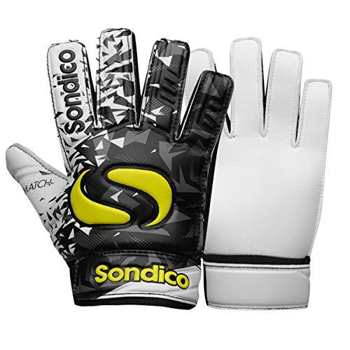 Sondico Torwarthandschuhe für Kinder, für Jungen, geprägte Rückseite 6 Schwarz/Weiß/Gelb