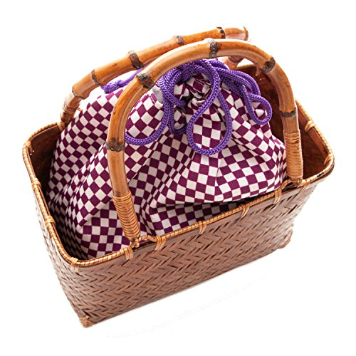 バッグ浴衣kg-04レディース(かご-茶×9.紫市松)