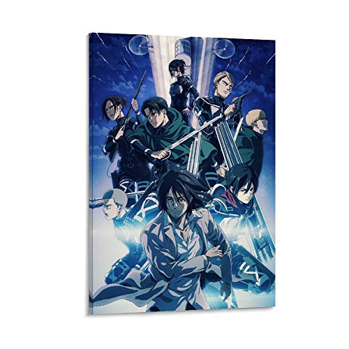 Único lienzo artístico para pared, diseño de anime Attack on Titan, temporada 4, 40 x 60 cm