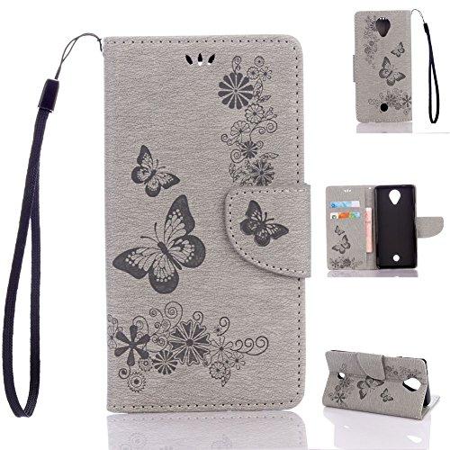 95Street Wiko U Feel Handyhülle Book Case Wiko U Feel Hülle Klapphülle Tasche im Retro Wallet Design mit Praktischer Aufstellfunktion - Etui Grau