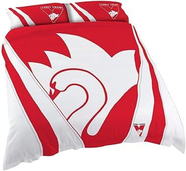 Sydney Swans AFL Footy Doona Duvet Cover Pillow Case Set, Queen