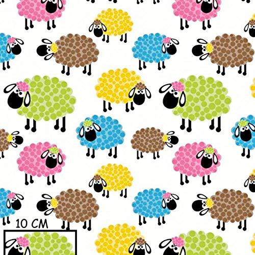 Pingianer - Tela de algodón para niños, 100 % algodón, por metros, artesanía, tela de costura, diseño de ovejas, Oveja multicolor., 150x160cm (11,99€/m)