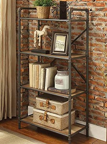 Book Cases Shelves Bookself Etagere Sandy Gray Wood Metal Pipe Frame With Four Shelves Display Space To Showcase Your Books