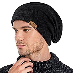 small PAGE1 Men's Sloppy Beanie Hat Winter Warm, Comfortable and Cozy Skull Cap Buggy Big Hat…