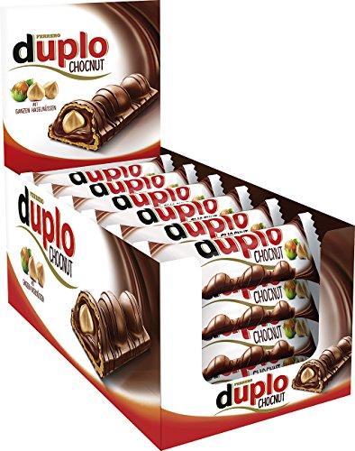 duplo Chocnut - Thekendisplay mit 24 Einzelriegeln, Schokoriegel aus Vollmilchschokolade mit Haselnüssen, knusprige Waffel gefüllt mit Haselnusscreme