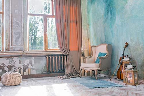 YongFoto 2,2x1,5m Vinyl Foto Hintergrund Indoor Szene Fenster Vorhang Geige Sofa Blau gemalte Wand Fotografie Hintergrund Kinder Fotostudio Hintergründe Requisiten 7x5ft