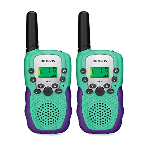 Retevis RA18 Walkie Talkies for Kids,FRS 22 Channels LCD Screen VOX, Kids Toy for 3-12 Years Old Gifts,for Family Outdoor Adventure Camping Hiking Climbing (Cyan,1 Pair)