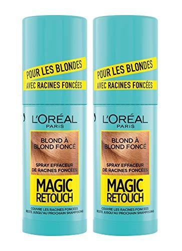L'Oréal Paris Spray Instantané Corrector de raíces oscuras – Magic Retouch – Rubio oscuro – 75 ml – Lote de 2