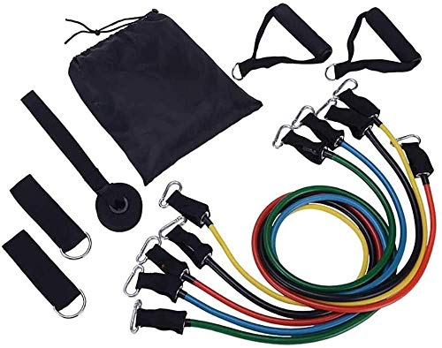 150 lbs Exercise Resistance Bands and Workout Fitness Set - 5 Tubes, 2 Hand Grips, Door Anchor, Ankle Straps, Carrying Pouch | Yoga, CrossFit, Pilates, Physio Home Gym Equipment For Arm Legs & Glutes