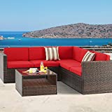 Patiomore 4-Piece (5 Seats) Outdoor Patio Furniture Set Sectional Sofa Set, All-Weather Brown Wicker Red Washable Cushions with Tempered Glass Table