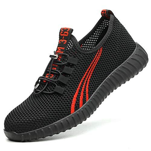 Aingrirn Zapatos de seguridad para hombre y mujer, zapatos de trabajo, gorras de acero para la construcción de seguridad transpirable zapatillas de deporte, color Rojo, talla 36 1/3 EU