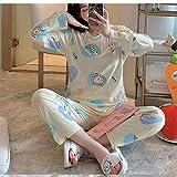 Wenhua Pijamas Conjunto, Lindos Pijamas Finos de Mujer en otoño e Invierno, B_L, Pijama de Manga Larga con para Mujer