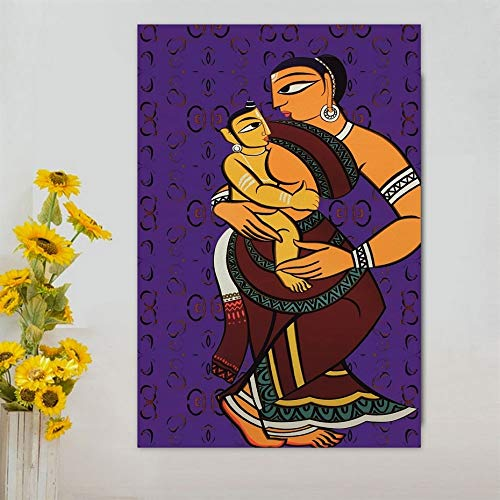 PLjVU Traditional Indian village women and children handmade canvas painting poster print wall art picture for living room wall decoration-Frameless60x90cm