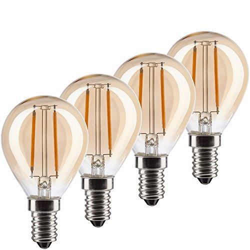MÜLLER-LICHT 400196 A+, 4er-SET Retro-LED Lampe Miniglobe ersetzt 17W, Glas, E14, gold , 4.5 x 4.5 x 7.7 cm