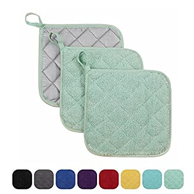 VEEYOO 100% Cotton Pot Holders Hot Pads Quilted Trivet Mats Spoon Rest Heat Resistant 7x7 , Set of 3, Mint
