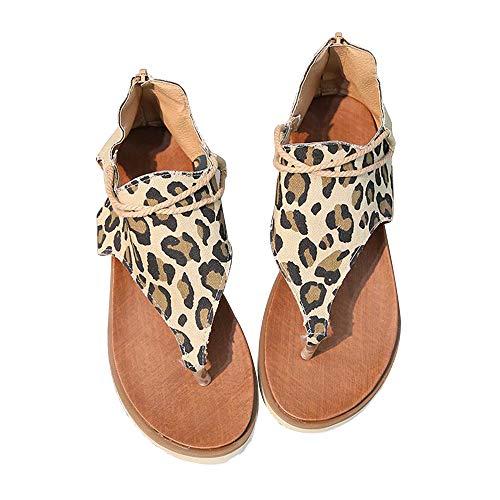 KIACIYA Damen Sandalen Sommer, Flache Riemchensandalen Leopard Open Toe Flip Flops PU Leder Strandsandalen Elegante Sandaletten Flacher Boden Römische Hausschuhe Schuhe mit Reißverschluss (1,38)