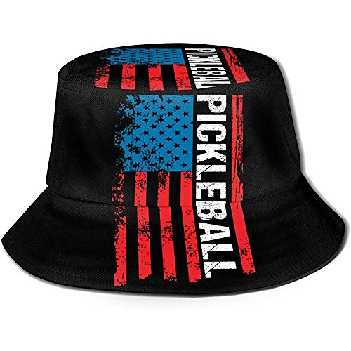 Baobei-shop Pickleball Retro American Flag Unisex Bucket Hat Flat Top Fisherman Hat Gorra de Sol al Aire Libre