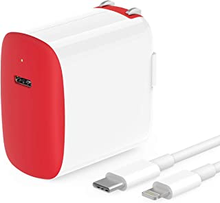 18W Fast Charger for iPhone/iPad, Apple Certified, 6.6ft USB C to Lightning Cable, Foldable, LED, for iPhone 11/11 Pro Max/XR/Xs Max/X/8, iPad Pro 12.9 Gen 1/2, iPad Pro 10.5, iPad 7/Air 3/Mini 5