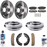 Detroit Axle - Front Disc Rotors & Pads + Rear Brake Drums and Shoes Replacement for Honda Civic - 10pc set