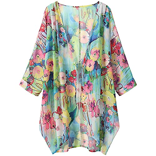 Yurmony Kimono Cardigan Damenmode Bademode Vertuschung Chiffon Blumendruck Kimono Lose Schal Strickjacke Sommer Bluse Bademode Capes Muster Kimono Pareos