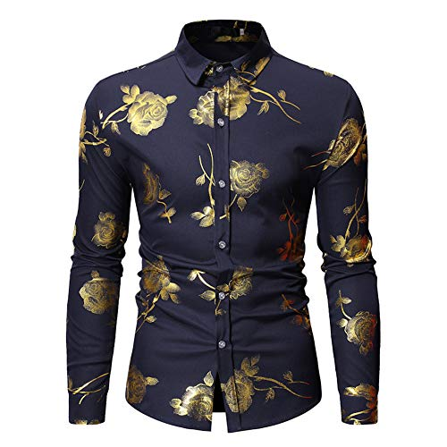 Camisa de hombre de poliéster bronce rosa patrón de flores solapa manga larga cárdigan hombre Tops 6 colores disponibles, azul, pequeño