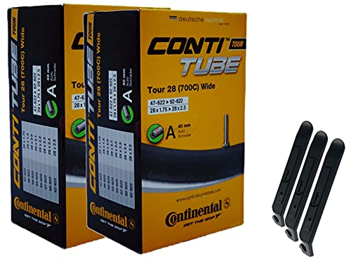 pneugo! Set 2 x Continental Fahrradschlauch 28 Zoll Autoventil 47-622/62-622 (Tour Wide) + 3 Reifenheber