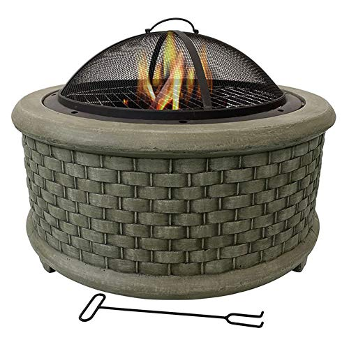 Buy HLEZ Fire Pit with BBQ Grill Shelf, 7048.5cm Firepit Barbecue with Fashionable and Artistic Magn...