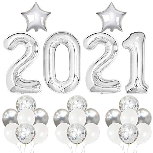 Silver 2021 Balloons For 2021 Graduation Decorations - Large, 40 Inch | 2021 Graduation Balloons | Graduation Party Supplies 2021 | Grad Party Decorations 2021 | Grad Balloons 2021 For Class Of 2021