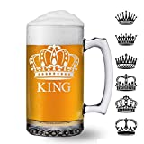 Royalty Crown King Queen 25oz Beer Mug Glass (one) w/Free Customization