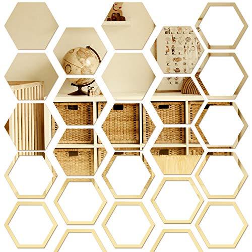 Pajaver 24 pegatinas de pared de espejo, acrílico autoadhesivo, espejos hexagonales para decoración de pared, espejo 3D para el hogar, dormitorio, baño, armarios, sofá, TV ajuste de pared, dorado
