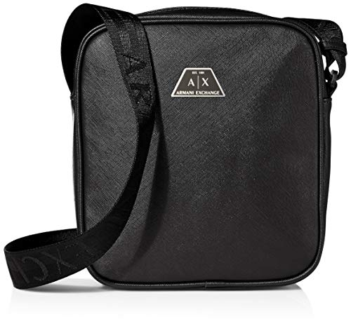 Armani Exchange Herren Zip Top Reporter Business Tasche, Schwarz (Nero - Black), 22.5x5.5x19 cm
