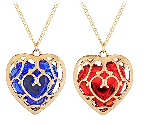 2 Pieces The Legend of Zelda Skyward Sword Heart Crystal Necklace Container Keychain Cosplay Created Sapphire Ruby Big Heart Pendant Anime Jewelry Valentines Gifts for Women Girl