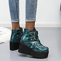 女性のプラットフォームのアンクルブーツ女性2020ウェッジブーツ女性の靴秋冬バックルブーツ35-43,ブルー,35