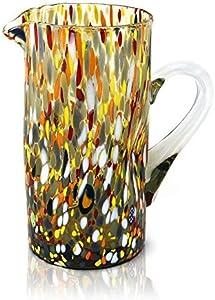 MAZZEGA ART & DESIGN Jarra de cristal de color estilo murano, modelo clásico (ámbar)