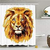 ZLWSSA 3D Wasserdichter Duschvorhang Safari Dekor des König Der Löwen Größte Katze In Afrikanischen Symbol Tier In 180x200cm