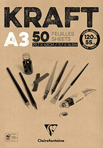 Clairefontaine 975816C Block Kraftpapier (50 Blatt, DIN A3, 29,7 x 42cm, 120g) 1 Stück, braun