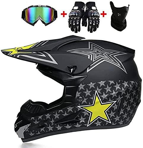 Casco de motocross, casco de motocicleta todoterreno para hombre, mujer, certificado por DOT, casco de moto de cross, casco de moto, scooter, BMX, crucero, casco de bicicleta de Montaña,B-S(52-53cm)