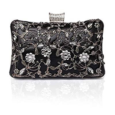 GESU Large Womens Crystal Evening Clutch Bag Wedding Purse Bridal Prom Handbag Party Bag.