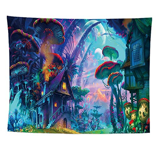 HLONGG Tapicería Alien Psychedelic Mushroom Tapices Forest Forest For Dormitorio Dormorm Wood Coat,59 * 39.37in