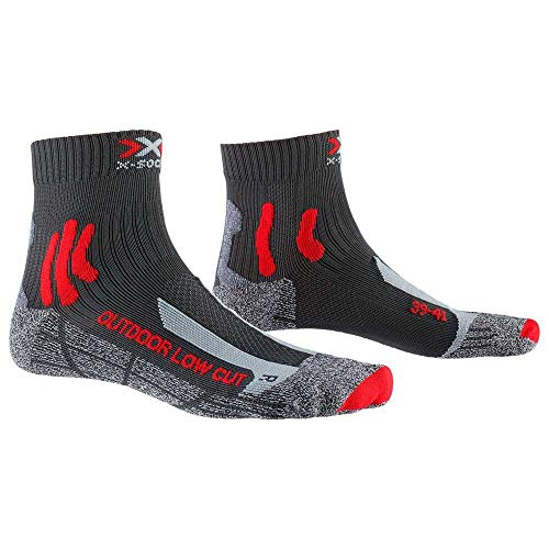 X-Socks Trek Outdoor Low Cut Wandersocken, Unisex L Anthrazit/Rot