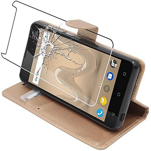 ebestStar - kompatibel mit Wiko Sunny 2 Plus Hülle Kunstleder Wallet Hülle Handyhülle [PU Leder], Kartenfächern, Standfunktion, Gold + Panzerglas Schutzfolie [Phone: 146.3 x 73.7 x 9.8mm, 5.0'']