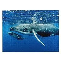 鯨の親子 500ピース ジグソーパズル ピクチュアパズル 木製の風景パズル、人物 動物 風景 漫画絵のパズル 大人の子供のおもちゃ家の装飾風景パズル Puzzle 52.2x38.5cm