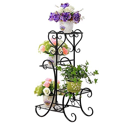 4 Tier Metal Plant Pot Stand Outdoor Elegant Raised Herb Floor Flower Display Rack Shelf with 4 Pots Holders Indoor Home Garden Patio Decor