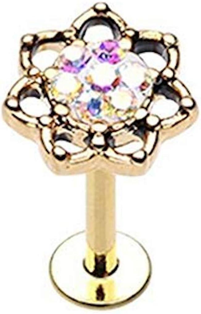 Amelia Fashion 16 Gauge Golden Sprinkle Dot Lotus Filigree Externally Threaded Labret/Monroe Stud 316L Surgical Steel
