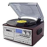 DFBGL Tocadiscos Bluetooth Reproductor de Discos de Vinilo Gramófono Vintage Grabador USB de 3 velocidades Multifunción CD Radio Fonógrafo