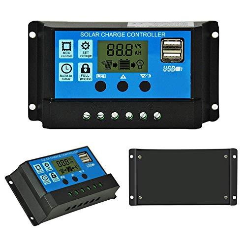 20A 12V / 24V Intelligente Solarpanel Laderegler mit LCD-Display & USB-Anschluss, Überstromschutz, Solarladeregler für Solarpanel Akku-Lampe LED-Beleuchtung
